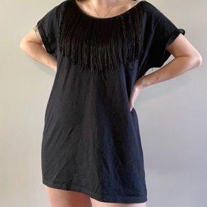 Fringe cut out back tee shirt dress/tunic